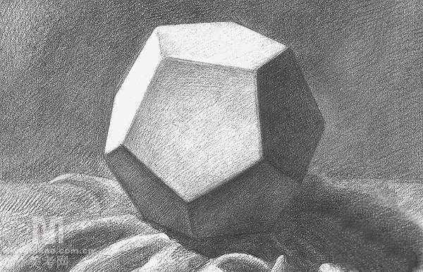 几何形体组合写生步骤范图十字架 圆柱切面 锥体