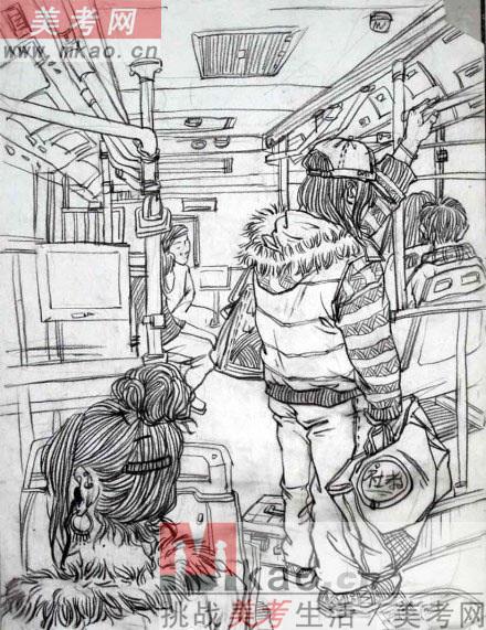 2013年四川省美术联考速写高分试卷范画